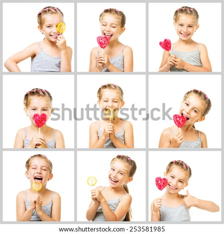 collage cute little girl is tasting the sweets on a white background