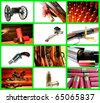 Collage depicting a collection of weapons - stock photo