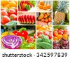 Collage different fruits and Vegetables - stock photo
