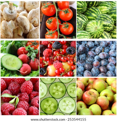 Collage different fruits, berries and vegetables closeup