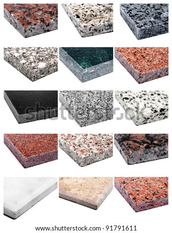 collage 15 different samples of granite and marble