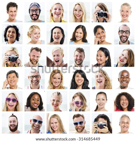 Collage Diverse Faces Expressions People Concept - stock photo