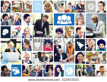 Collage Diverse Faces Working People Concept