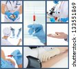 Collage Doctor at work in the hospital - stock photo