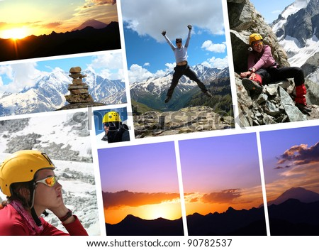 collage - early morning Elbrus and hikers  with blue sky in the background - stock photo
