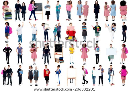 Collage, education concept. White background. - stock photo