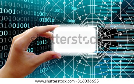Collage electronic plastic card in hand on the background of the computer code and reader. The concept of security