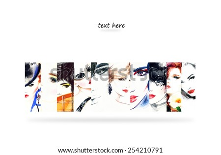 Collage Fashion Illustrations.woman portrait .abstract watercolor .fashion background - stock photo