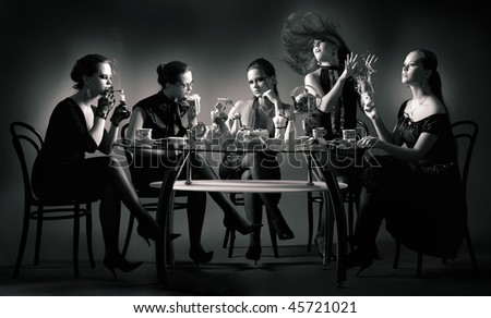 Collage. Five beauty girls tea drinking at the table over black - stock photo