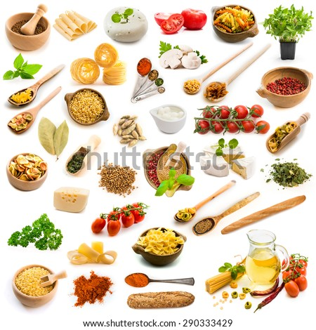 collage food ingredients Italian cuisine on a white background - stock photo