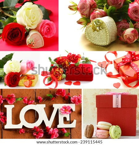 collage for the day of St. Valentine - flowers, hearts, gifts - stock photo