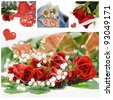 Collage for valentines day with roses and hearts - stock photo