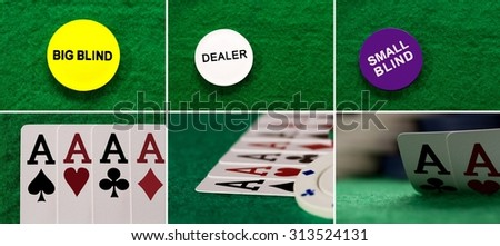 Collage four aces on the table casino and blind chip viewed from above - stock photo