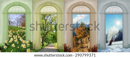 collage four seasons - narcissus, summer flowers at lakeside, autumn in the mountains, winter fun. - stock photo