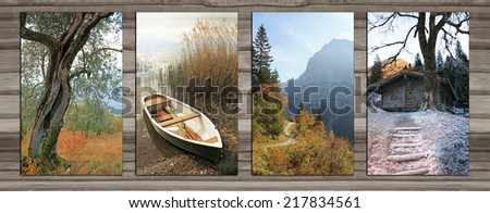Collage - four seasons on wooden board background. gnarled tree, lonely boat, autumnal hiking trail in the alps, wooden cabin in winter - stock photo