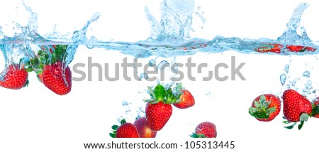 Collage Fresh Strawberry Dropped into Water with Splash on white backgrounds - stock photo