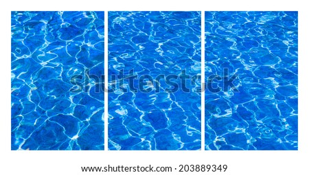 Collage Fresh Water. Collage of three vertical format photographs of fresh blue water, playing in the sun. Abstract of Nature, natural art. - stock photo