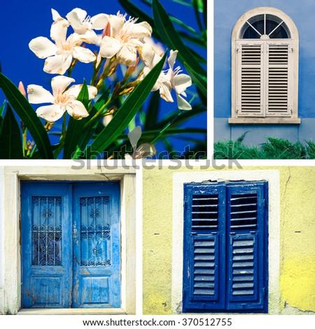 collage from croatian windows, door and oleander flower - stock photo