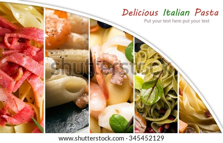 Collage from different photos of Italian pasta with vegetables, meat and fish
