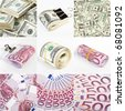 Collage from dollar and euro money backgrounds - stock photo