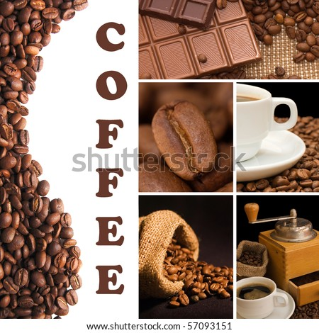 Collage from fragrant coffee - stock photo