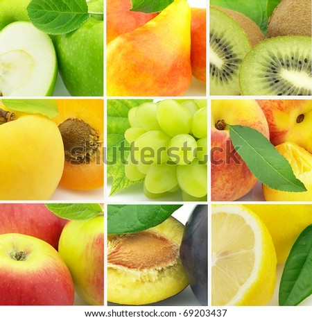 Collage from fresh fruit - stock photo
