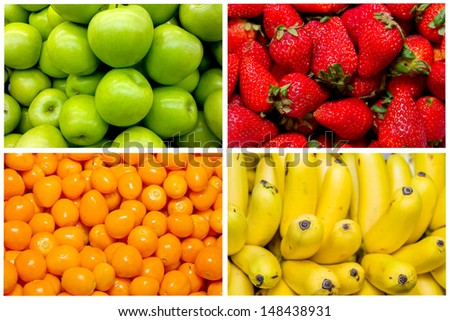 Collage from fresh fruit and vegetables - stock photo