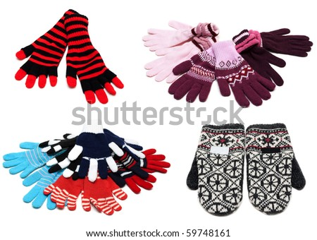 Collage from knitted mittens and gloves on white background. Picture is stuck from several photographies - stock photo