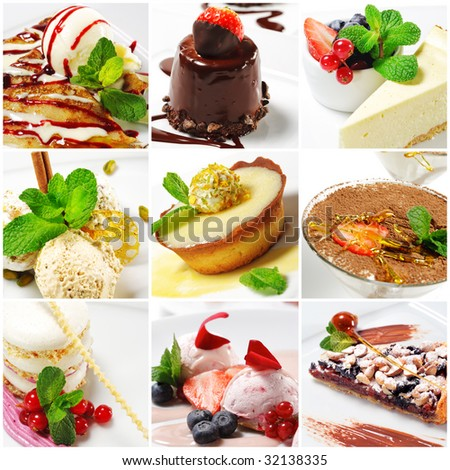 Collage from nine Photographs of Dessert - stock photo
