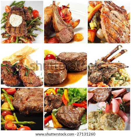 Collage from Photographs of Hot Meat Dishes - stock photo