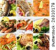 Collage from Photographs of Seafood Plate - stock photo