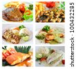Collage from photographs of   steak menu - stock photo