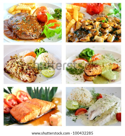 Collage from photographs of   steak menu
