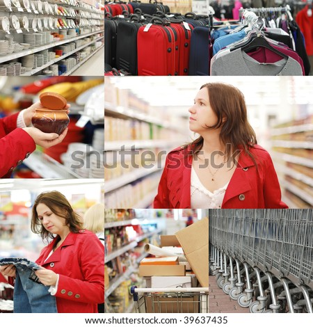 Collage from photos in a supermarket - stock photo