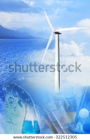 Collage from photos of a wind generator and landscapes - stock photo