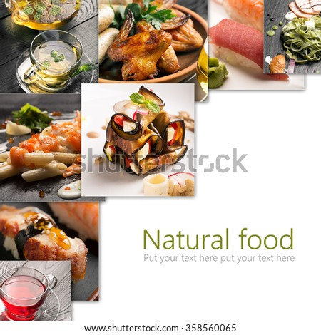 Collage from photos of different sorts of natural food - stock photo