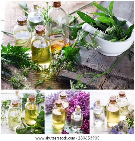 Collage from photos of essential aroma oil  on  wooden background. Selective focus.  - stock photo
