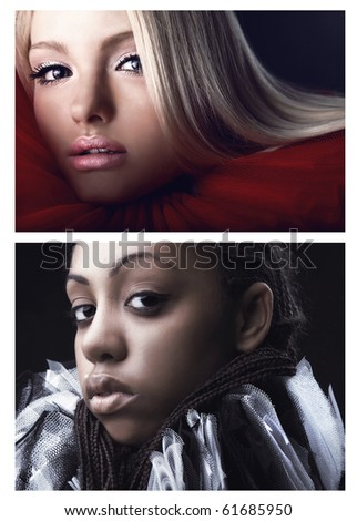 Collage from 2 photos of girls in a theatrical jabot of different races. - stock photo