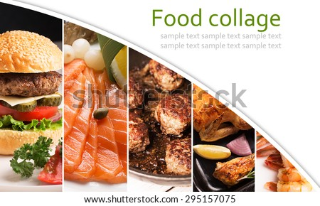 Collage from photos of meat and seafood - stock photo