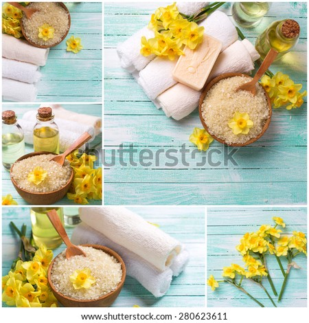 Collage from photos of spa or wellness setting. Bright yellow and turquoise colors. Sea salt in bowl, soap, aroma oil, towels and narcissus flowers  on turquoise wooden background.  Selective focus. - stock photo