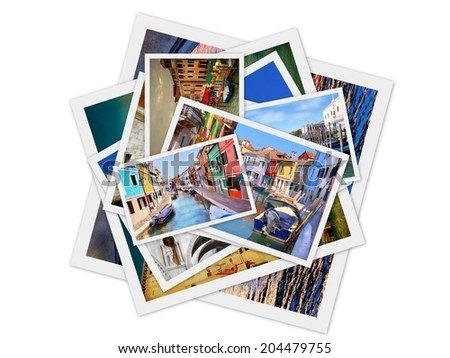 Collage from photos of venice, Italy , isolated on white background  - stock photo