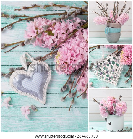 Collage from photos with  hyacinths, willow flowers and  decorative heart. Selective focus.  - stock photo