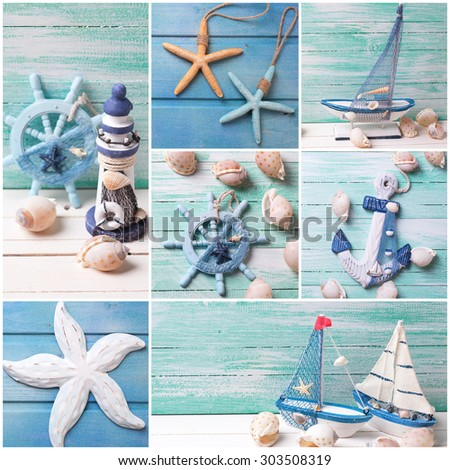 Collage from photos with sea theme decorations. Decorative lighthouse,  sailing boats and marine items on wooden background. Sea objects on wooden planks. Selective focus.  - stock photo