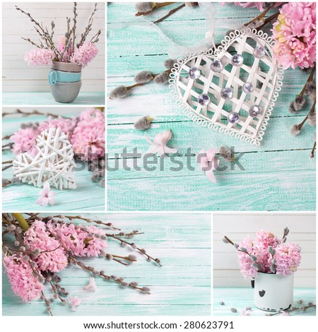 Collage from photos with with hyacinths,  willow and decorative heart on turquoise painted wooden background. Selective focus. - stock photo