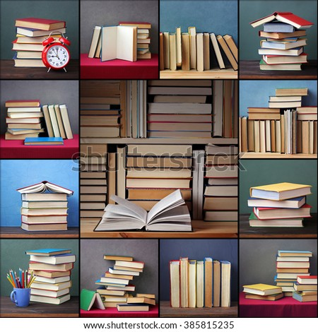 Collage from pictures with books. Background from books. Books close up. Books on the shelf. Still life with books. - stock photo