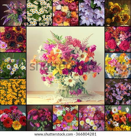 Collage from pictures with flowers: lupine, camomile, chrysanthemum, aster, rose, sunflower, peony, lily, dahlia, phlox, geranium, Transvaal daisy and others. - stock photo