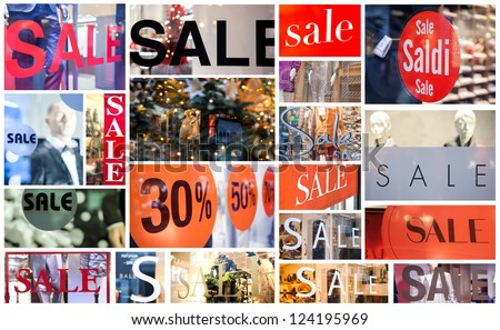 collage from sale stickers on shop windows - stock photo