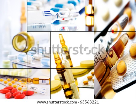 collage from several image; drugstore background - stock photo