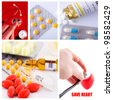 collage from several image; drugstore background with health concept - stock photo