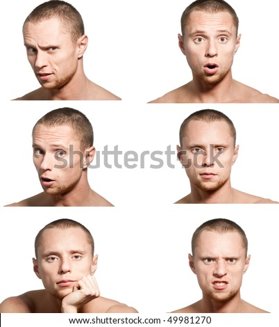 collage from six emotions close-up portraits of young man isolated on white